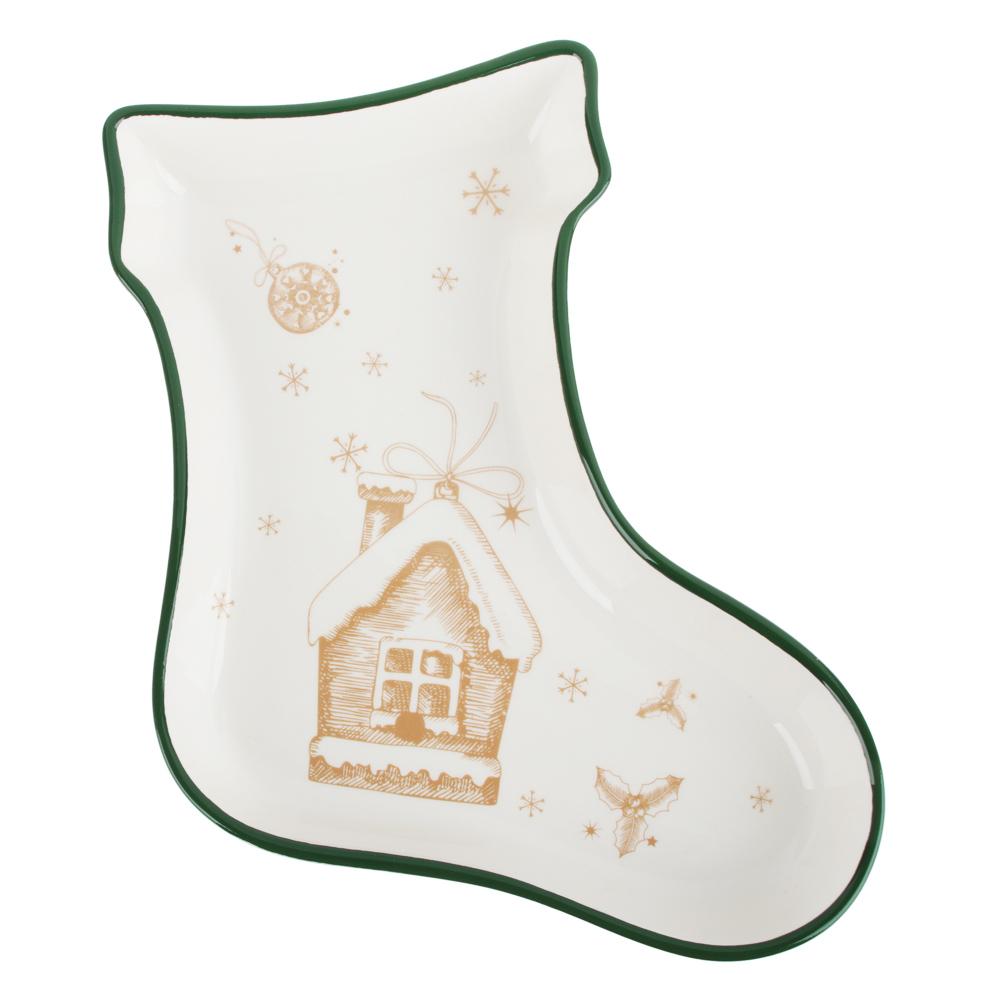 MILLIMI Пряничный домик Блюдо в форме сапожка 25,5х19,5х3,5см, керамика