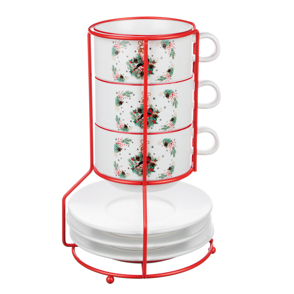 MILLIMI Снегирь Набор чайный 6 пр. на метал. подст, 16х16х24,5см, чаш. 260мл, блюд. 15см, керамика