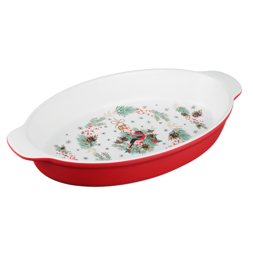 MILLIMI Снегирь Форма для запек. и салатов овальн. с ручк., 1500мл, 35,5х20х6см, керамика