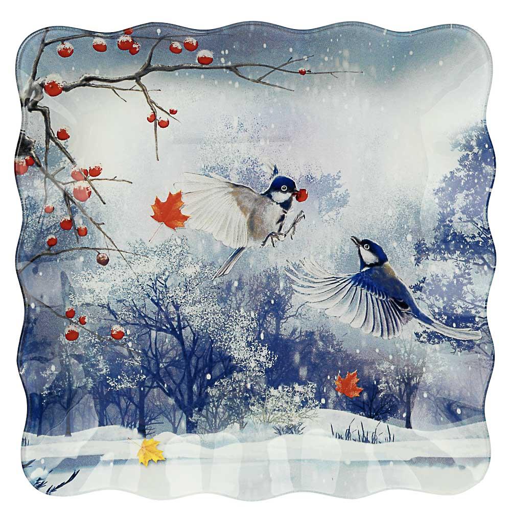 Зимушка-зима Блюдо квадратное 20х2см, стекло