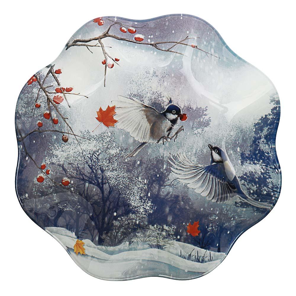 Зимушка-зима Салатник круглый 19х3,5см, стекло