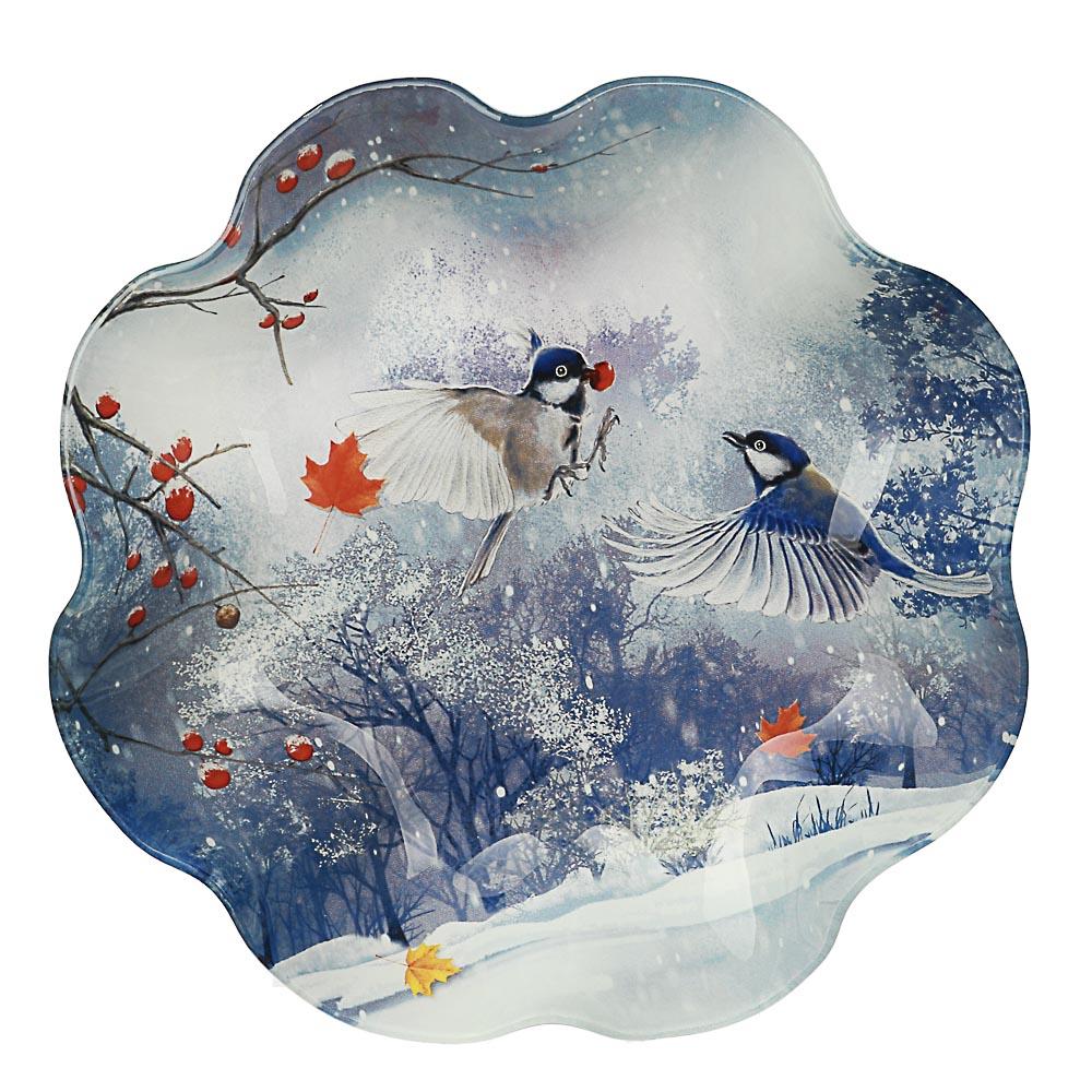 Зимушка-зима Салатник круглый 23х4,5см, стекло