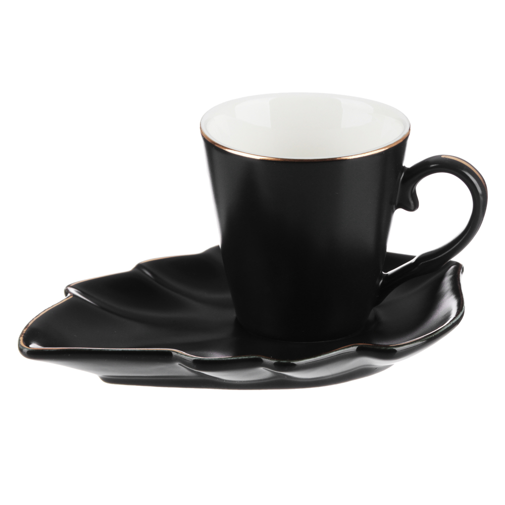 MILLIMI Лист блэк Набор кофейный 12пр., 80мл, 14,5х10см, костяной фарфор