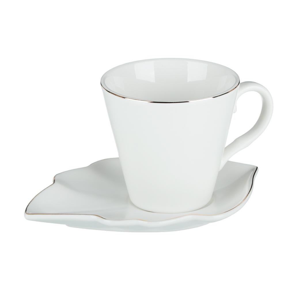 MILLIMI Лист блэк&вайт Набор чайный 2 пр., 220мл, 16x11,5см, костяной фарфор, 2 цвета