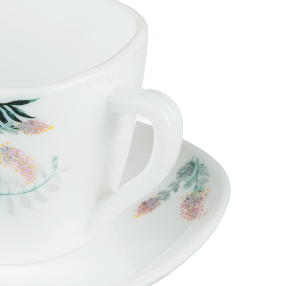 MILLIMI Тропикана Чайная пара (чашка 220мл., блюдце 14 см) опаловое стекло, 20048