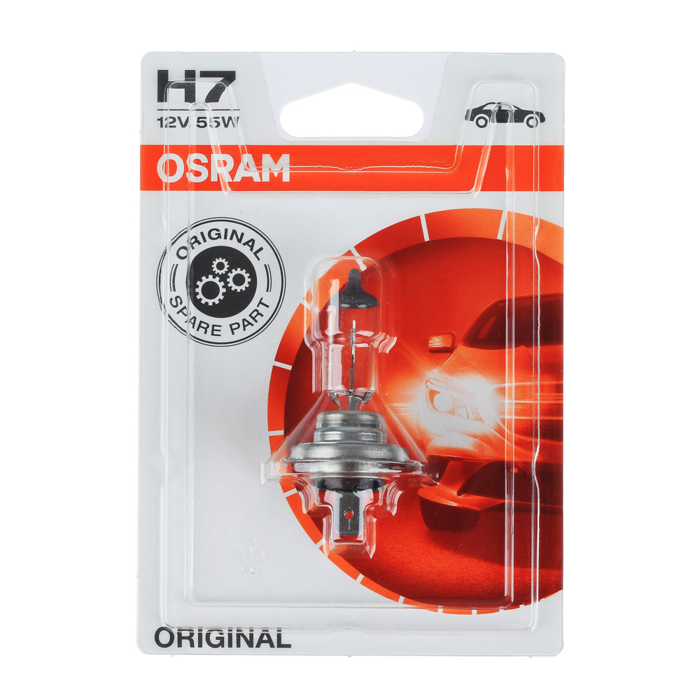 Автолампа галогеновая OSRAM H7 12V, 55W, PX26d, блистер, 1 шт