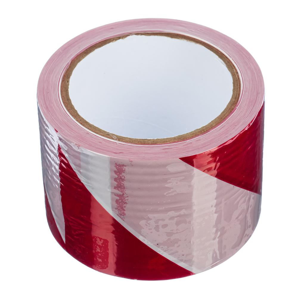 Лента сигнальная бело-красная 75мм x 100м