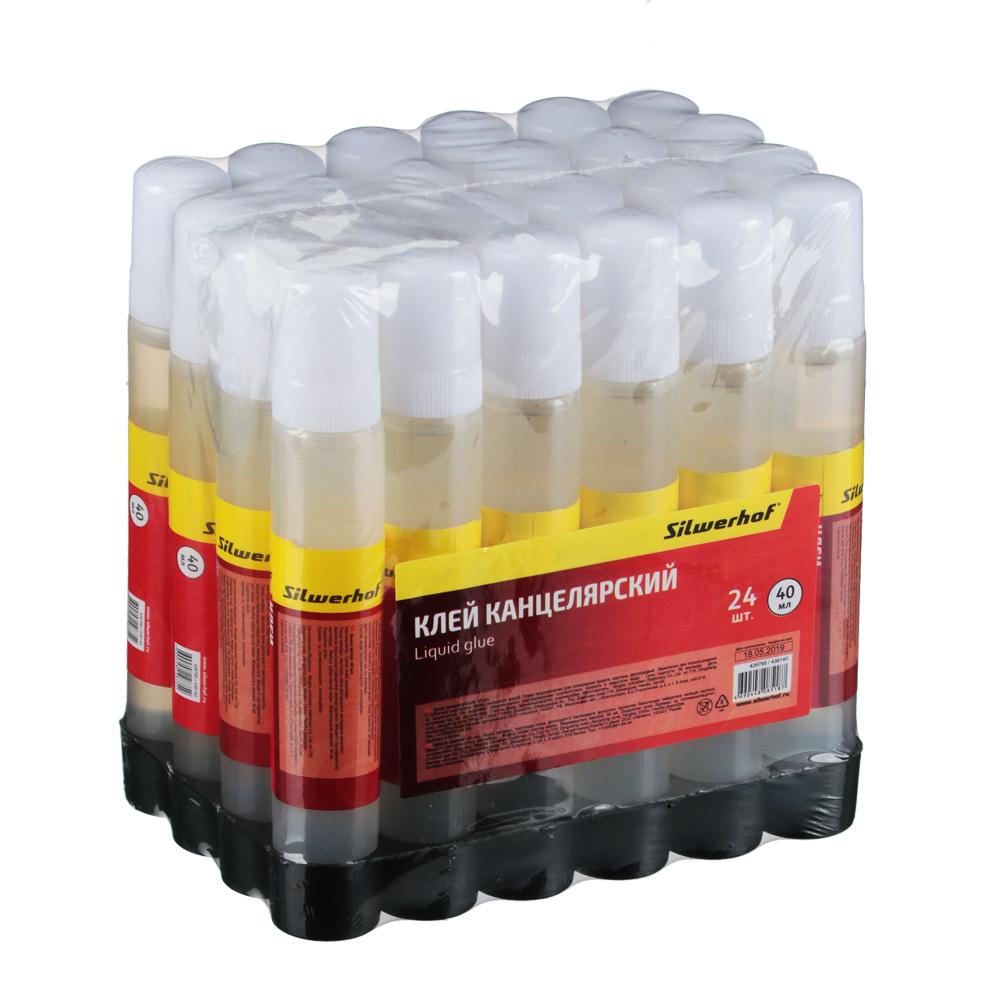 Клей жидкий 40 мл, силикатный, морозоустойчивый, в пластиковом флаконе, 436140