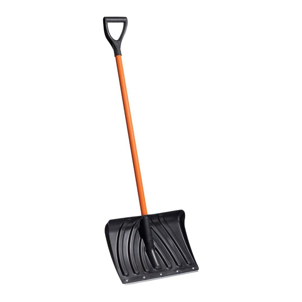 Лопата снеговая 500х380мм пластмассовая с деревянным черенком и V-обр ручкой, черная