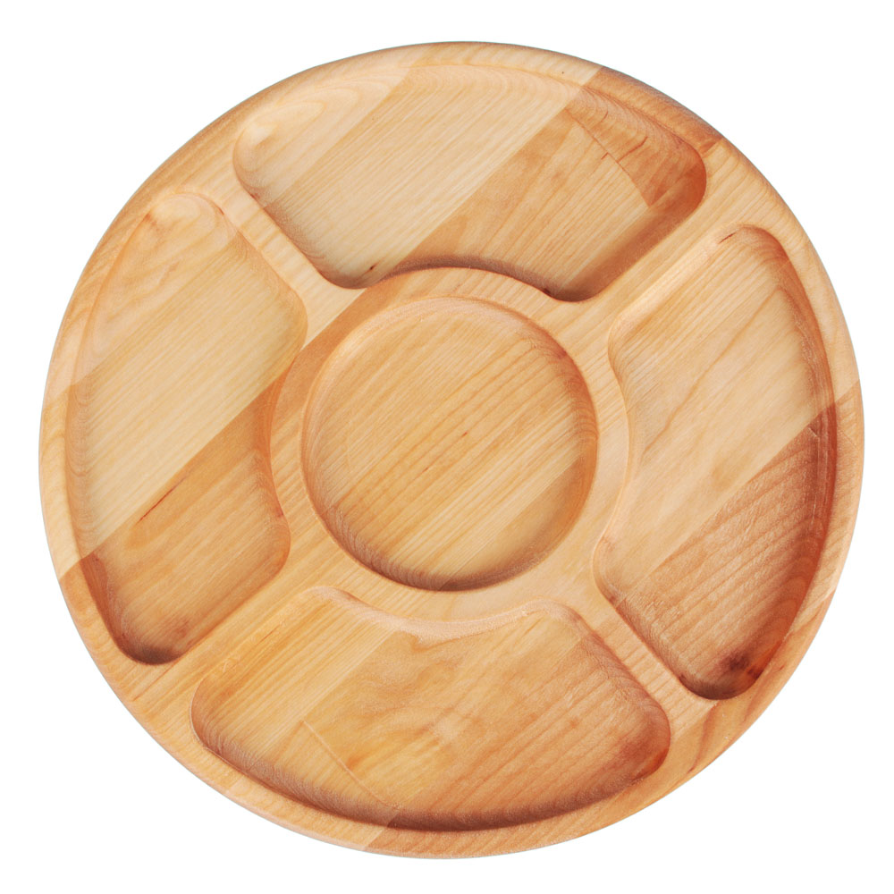 Менажница круглая 5 секций, d28х1,8см, береза