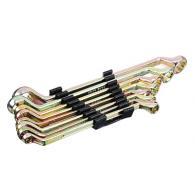Набор ключей накидных, 8 предм., 8x10 - 19x22мм, желтый цинк, пластик холдер