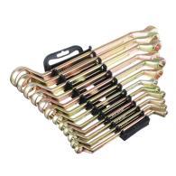Набор ключей накидных, 12 предм., 8x10 - 30x32мм, желтый цинк, пластик холдер