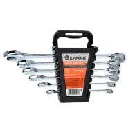Набор ключей рожково-накидных, 6 предм. 8-17мм, полированные CRV, пластик холдер