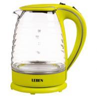 Чайник электрический  1,7л, 1850Вт, скрытый нагревательный элемент, стекло, рифлёное стекло