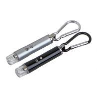 ЧИНГИСХАН Фонарик-брелок на карабине 1 LED + УФ + лазер, 3xLR44, алюминий, 6,6х1...