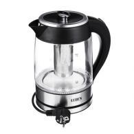 Чайник электрический 1,8л, 1850Вт, скрытый нагр.элемент, стекло c заварочным фильтром
