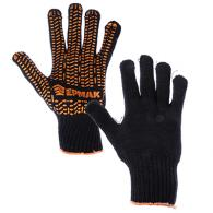 ЕРМАК Перчатки вязаные ЛЮКС х/б с ПВХ напылением, 5 нитей, черные, 62 гр, пакет
