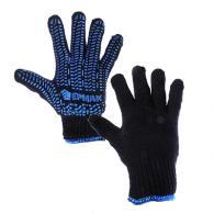 Перчатки вязаные х/б двойные, зимние, с ПВХ покрытием, 5 нитей, черные, 120гр