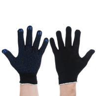 """Перчатки вязаные эконом х/б с ПВХ напылением """"Точка"""", набор 5 пар, чер..."""