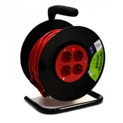 FORZA Удлинитель с зазем на катушке, евро, 4 гнезда, макс. мощность 3500Вт, сеч. провода 1 кв.мм 25м