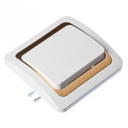FORZA Золотая коллекция Выключатель одноклавишный, белый с золот. вставкой 10А 250В, огнеуп. пластик