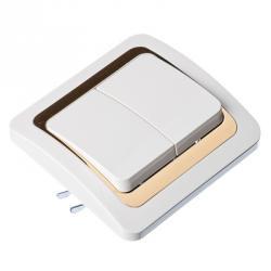 FORZA Золотая коллекция Выключатель двухклавишный, бел. с золотой вставкой 10А 250В, огнеуп. пластик