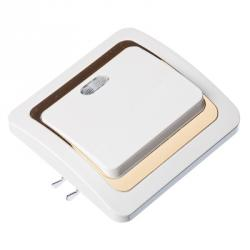 FORZA Золотая коллекция Выключатель однокл, с подсв., бел с золот вставкой 10А 250В, огнеуп. пластик