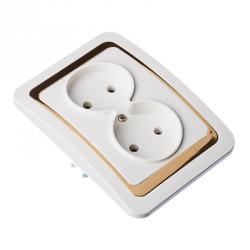 FORZA Золотая коллекция Розетка двухмест, без заземл, бел с золот вставкой 16А 250В, огнеуп. пластик