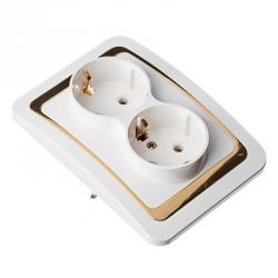 FORZA Золотая коллекция Розетка двухмест., с заземл, бел с золот. вставкой 16А 250В огнеуп. пластик