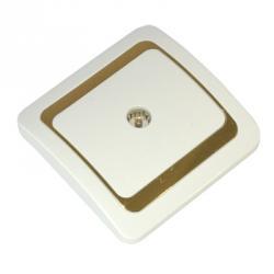 FORZA Золотая коллекция Розетка телевизионная, цвет белый с золотой вставкой 16А 250В, керамика