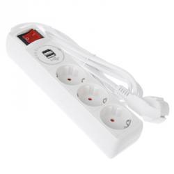 FORZA Удлинитель 3 гнезда, сеч. провод. 1 кв.мм 2м, USB 1000mA, с зазем, евро, 16A, 3500Вт