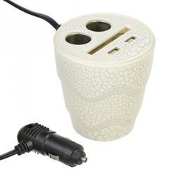 FORZA Зарядное устройство-разветвитель, 2 USB-2 разъема-прикурив., 3,1 А, шнур 50 см,пластик