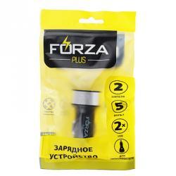 FORZA Зарядное устройство USB в прикуриватель, 2 USB, 1 А, пластик, металл
