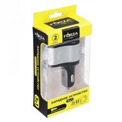 Зарядное устройство прикуриватель-2 USB, 2А, пластик, металл,