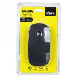 FORZA Компьютерная мышь проводная тонкая, провод 1,15 м, черный