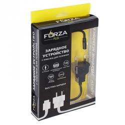 FORZA Кабель для зарядки с вилкой 220В, iP, 1м, 1А, прорезиненный, 2 цвета, коробка ПВХ