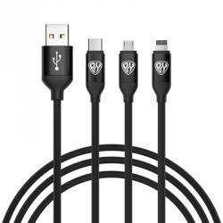 FORZA Кабель для зарядки, 3 в 1, IP, micro USB, Type-C, длина провода 1.5м, 2А, 2 цвета