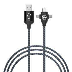 FORZA Кабель для зарядки, 3 в 1, IP, micro USB, Type-C, длина провода 1 м, 2А