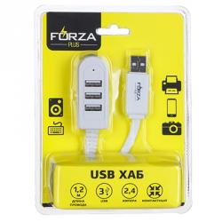 FORZA USB хаб, 3 входа, длина провода 1,2м, 2.4А