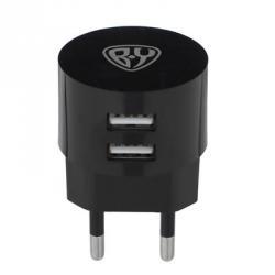 BY Зарядное устройство USB Вертикальное, 220В, 2USB, 2А, пластик