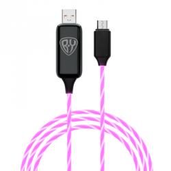 Кабель для зарядки micro USB, с LED подсветкой, 1м, 2.4А, покрытие TPE