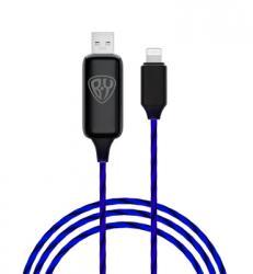 Кабель для зарядки iP, с LED подсветкой, 1м, 2.4А, покрытие TPE