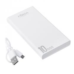 Аккумулятор мобильный 10000мАч, 2 USB, 2A, фонарик, 13x7x1,5см, пластик, 2 цвета