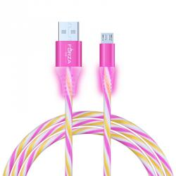 Кабель для зарядки Micro USB, 1м, 1,5А, цветной с подсветкой, пластик