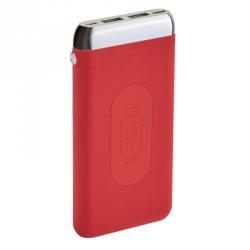 Аккумулятор мобильный беспроводной 8000 мАч, 2 USB, 2А, прорезиненный, пластик, 3 цвета