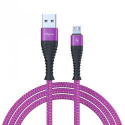Кабель для зарядки телефона, спиральная тканная оплетка, micro USB, 2А, 1м, пластик
