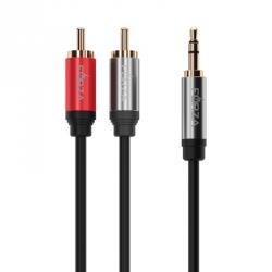 Аудио-кабель mini-Jack, 2RCA, 1,8м, позолоч. никелир., металл, оплетка ПВХ