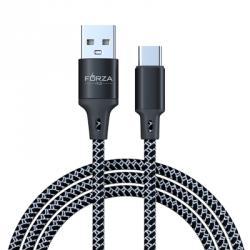 Кабель для зарядки моб. телефона, сетчатая оплетка, 2А, Type-C, 100см, пластик, 2 цвета