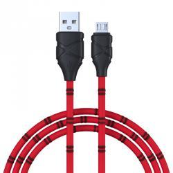 Кабель для зарядки моб. телефона, опл. тканная в полоску, 2А, microUSB, 100см, пластик,3 цвета