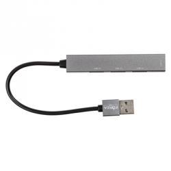 USB-хаб 4 в 1, 4xUSB 2.0, штекер USB, корпус металлик, пластик